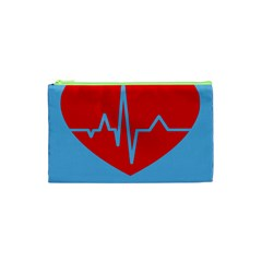 Heartbeat Health Heart Sign Red Blue Cosmetic Bag (xs) by Mariart