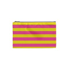 Horizontal Pink Yellow Line Cosmetic Bag (small)  by Mariart