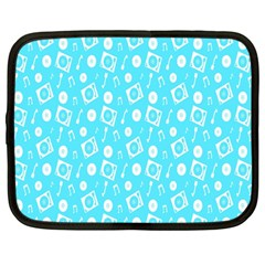 Record Blue Dj Music Note Club Netbook Case (large)