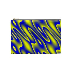 Blue Yellow Wave Abstract Background Cosmetic Bag (medium)