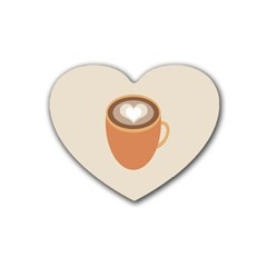 Artin Coffee Chocolate Brown Heart Love Rubber Coaster (heart)  by Mariart