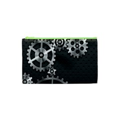 Chain Iron Polka Dot Black Silver Cosmetic Bag (xs) by Mariart