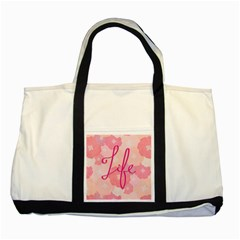 Life Typogrphic Two Tone Tote Bag
