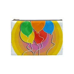 Birthday Party Balloons Colourful Cartoon Illustration Of A Bunch Of Party Balloon Cosmetic Bag (medium)  by Nexatart