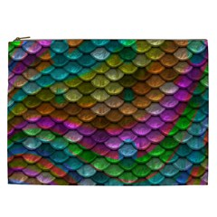 Fish Scales Pattern Background In Rainbow Colors Wallpaper Cosmetic Bag (xxl)