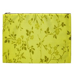 Flowery Yellow Fabric Cosmetic Bag (xxl)