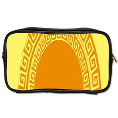 Greek Ornament Shapes Large Yellow Orange Toiletries Bags by Mariart