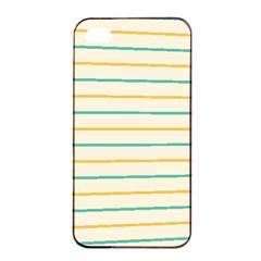 Horizontal Line Yellow Blue Orange Apple Iphone 4/4s Seamless Case (black) by Mariart