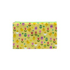 Easter   Chick And Tulips Cosmetic Bag (xs) by Valentinaart