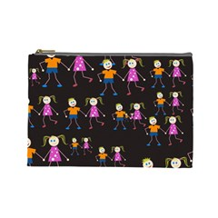 Kids Tile A Fun Cartoon Happy Kids Tiling Pattern Cosmetic Bag (large)  by Nexatart