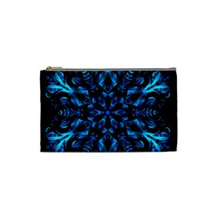 Blue Snowflake On Black Background Cosmetic Bag (small)  by Nexatart