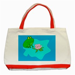 Frog Flower Lilypad Lily Pad Water Classic Tote Bag (red) by Nexatart