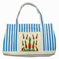 Pineapple Print Polygonal Pattern Striped Blue Tote Bag