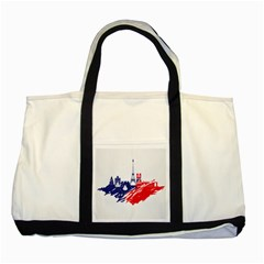 Eiffel Tower Monument Statue Of Liberty France England Red Blue Two Tone Tote Bag