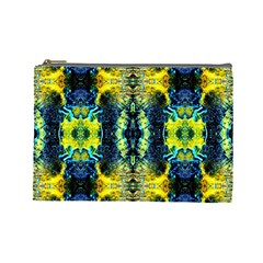 Mystic Yellow Green Ornament Pattern Cosmetic Bag (large)  by Costasonlineshop