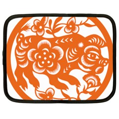 Chinese Zodiac Horoscope Pig Star Orange Netbook Case (large)