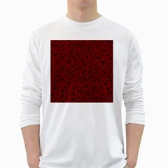 Red Roses Field White Long Sleeve T Shirts by designworld65