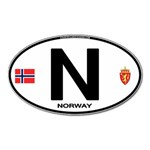 N - Norway Euro Oval Magnet (Oval)