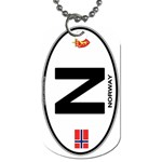 N - Norway Euro Oval Dog Tag (One Side)