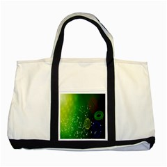 Geometric Shapes Letters Cubes Green Blue Two Tone Tote Bag