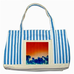 Simulate Weather Fronts Smoke Blue Orange Striped Blue Tote Bag