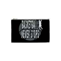 Basketball Never Stops Cosmetic Bag (small)  by Valentinaart