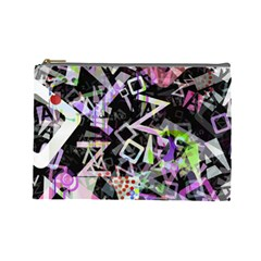 Chaos With Letters Black Multicolored Cosmetic Bag (large)  by EDDArt