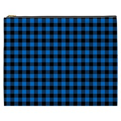 Lumberjack Fabric Pattern Blue Black Cosmetic Bag (xxxl)  by EDDArt