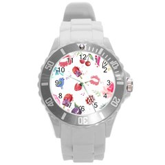 Hand Painted Summer Background  Round Plastic Sport Watch (l) by TastefulDesigns