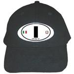 I - Italy Euro Oval Black Cap