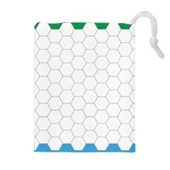Hex Grid Plaid Green Yellow Blue Orange White Drawstring Pouches (extra Large)