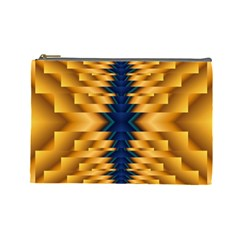 Plaid Blue Gold Wave Chevron Cosmetic Bag (large)  by Mariart