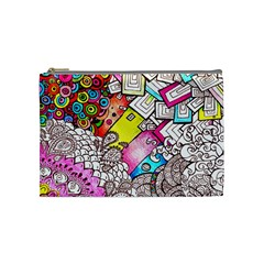 Beautiful Colorful Doodle Cosmetic Bag (medium)  by Nexatart