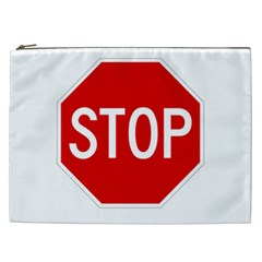 Stop Sign Cosmetic Bag (xxl)  by Valentinaart