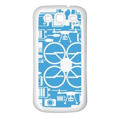 Drones Registration Equipment Game Circle Blue White Focus Samsung Galaxy S3 Back Case (white) by Mariart