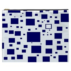 Illustrated Blue Squares Cosmetic Bag (xxxl)  by Mariart