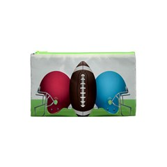 Helmet Ball Football America Sport Red Brown Blue Green Cosmetic Bag (xs) by Mariart
