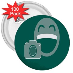 Laughs Funny Photo Contest Smile Face Mask 3  Buttons (100 Pack)  by Mariart