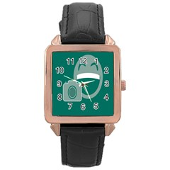 Laughs Funny Photo Contest Smile Face Mask Rose Gold Leather Watch  by Mariart