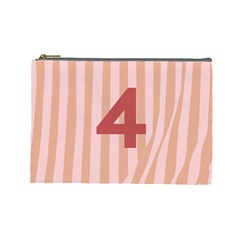 Number 4 Line Vertical Red Pink Wave Chevron Cosmetic Bag (large)  by Mariart