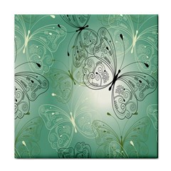 Glass Splashback Abstract Pattern Butterfly Tile Coasters