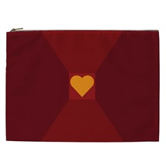 Heart Red Yellow Love Card Design Cosmetic Bag (xxl)