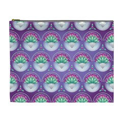 Background Floral Pattern Purple Cosmetic Bag (xl) by Nexatart