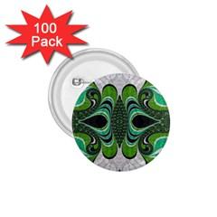Fractal Art Green Pattern Design 1 75  Buttons (100 Pack)