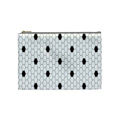Black White Hexagon Dots Cosmetic Bag (medium)  by Mariart