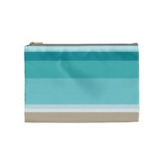 Dachis Beach Line Blue Water Cosmetic Bag (medium)  by Mariart