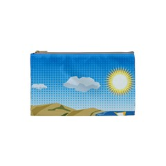 Grid Sky Course Texture Sun Cosmetic Bag (small)  by Nexatart