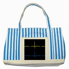 Heart Monitor Screens Pulse Trace Motion Black Blue Yellow Waves Striped Blue Tote Bag