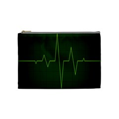 Heart Rate Green Line Light Healty Cosmetic Bag (medium)  by Mariart