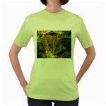Slate Stone Fractal Earth Tone Women s Green T-Shirt